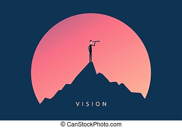 Minimalist stile. vector business finance. Successful vision concept with  icon of businessman and telescope, Symbol leadership, strategy, mission, objectives.
