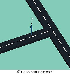 Minimalist stile. vector business finance.two businessman Confused at the crossroad