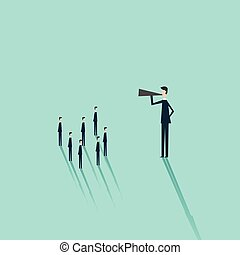 Minimalist stile. vector business finance.Business man with a megaphone as symbol for announcement, public speaking, presentation.