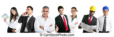 Group of business people in a line row isolated on white...