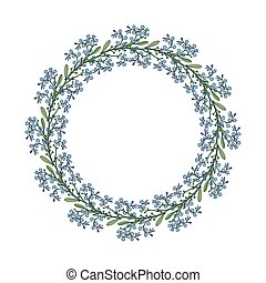 Summer wreath with forget-me-not flowers. Vector...