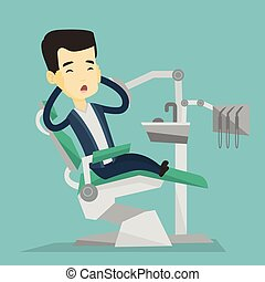 Scared patient in dental chair vector illustration -...