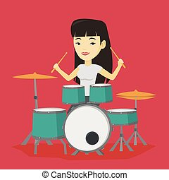 Woman playing on drum kit vector illustration. - Asian...
