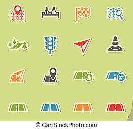 road icon set - road web icons on color paper stickers for...