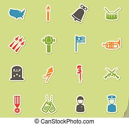 Memorial day simply icons - Memorial day simply symbols for...