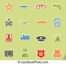 police icon set - police web icons on color paper stickers...