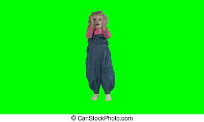 Lovely toddler child clap hands and run away isolated on...