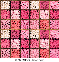 Seamless sugared almonds in wooden storage box - A seamless...