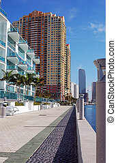 Miami Waterfront - office buildings at the ocean waterfront...