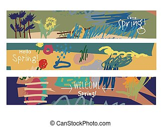 Abstract set horizontal banners spring floral art and sign.