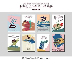 Spring set universal floral cards or posters. Hand Drawn...