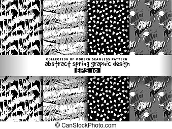 Set spring floral background grayscale seamless pattern.