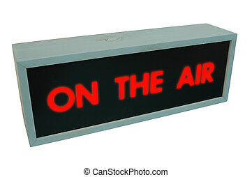 "On the air sign - wooden box with the words ""On the air"" on..."