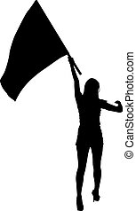 Black silhouettes of woman with flags on white background