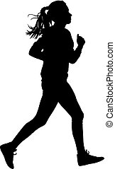 Black Silhouettes Runners sprint women on white background
