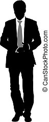 Silhouette businessman man in suit with tie on a white background. Vector illustration