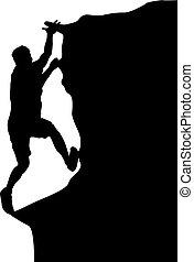 Black silhouette rock climber on white background
