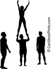 Black silhouette two acrobats show stand on hand. Vector illustration