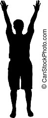 Black silhouette man standing with hands raised, people on...