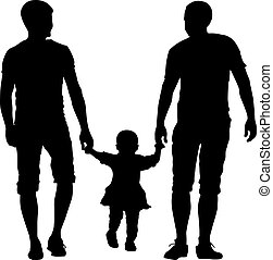 Black silhouettes Gay couples and family with children on...