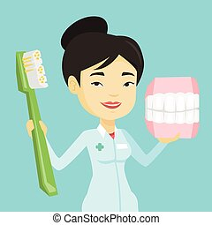 Dentist with dental jaw model and toothbrush. - Young asian...