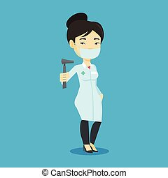Ear nose throat doctor vector illustration. - Asian ear nose...