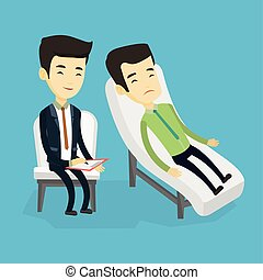 Psychologist having session with patient. - Asian patient...