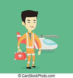 Doctor of air ambulance vector illustration.