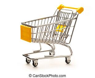 Empty pushcart - Empty market pushcart on white background...