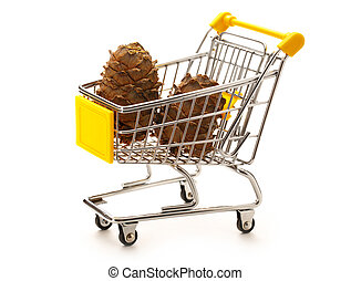 Market pushcart with cones on white background closeup