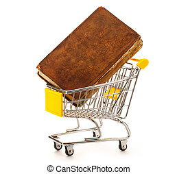 Market pushcart with book on white background closeup
