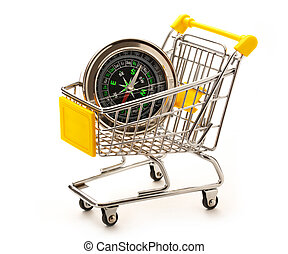 Market pushcart with compass on white background closeup