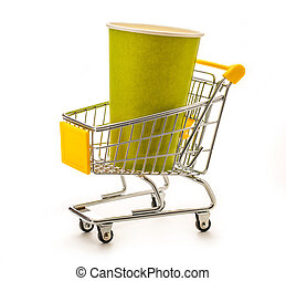 Green paper cups in pushcart - Green paper cups in small...