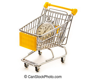 Stopwatch in pushcart - Stopwatch in the small supermarket...