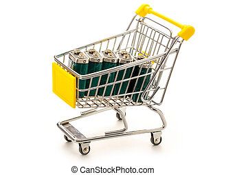 Four batteries in pushcart - Four batteries in small...