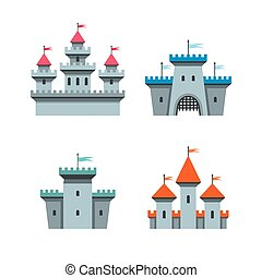 Castle icons - Vector castle icons set on white background