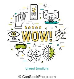 Unreal emotions - Line Art Concept - Vector round banner of...