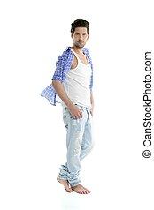 Full length casual denim handsome man over white
