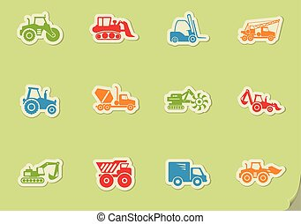 Construction Machines Icon Set - Construction Machines...