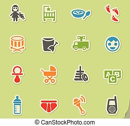 baby icon set - baby web icons for user interface design