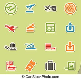 Airport icon set - Airport simply symbols for web and user...