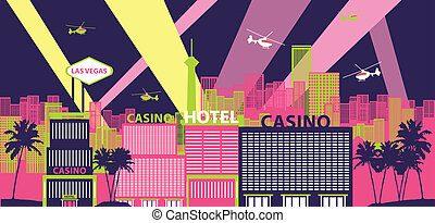 Las Vegas cityscape - Casino hotels in a city, Las Vegas,...