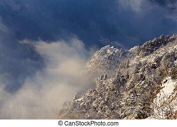 Snow, mountains and clouds in Savoy - Snowed mountains and...