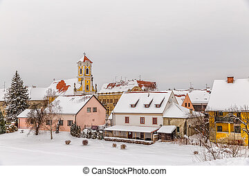 Varazdin Old Town in winter time, one of the most important...