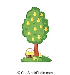 Green Pear tree full of yellow pears icon in flat style...