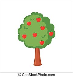 Green Apple tree full of red apples icon in flat style...