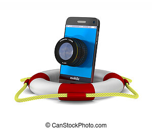 phone with lens on white background. Isolated 3D image