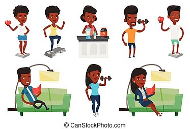 Vector set of people during leisure activity. -...
