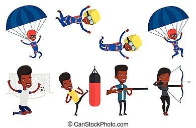 Vector set of sport characters. - African-american man...