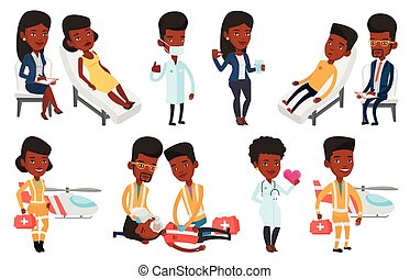 Vector set of doctor characters and patients. - African...